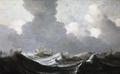 Målning. Fyra skepp i hård storm. Pieter Mulier d.ä - Hallwylska museet - 86737.tif