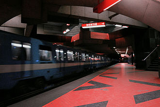 Montreal Metro - Acadie station on Line 5 (Blue Line).