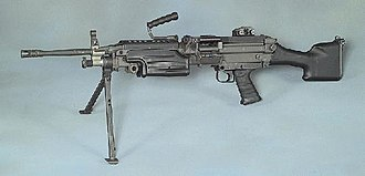 Light machine gun - The M249 SAW, one of the most widespread modern 5.56 mm light machine guns amongst NATO countries.