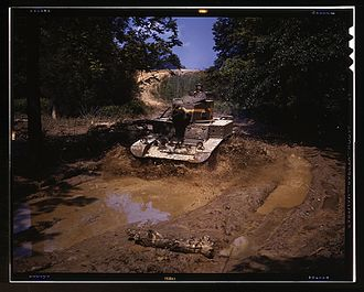 M3 Stuart - A M3A1 going through water obstacle, Ft. Knox, Ky.