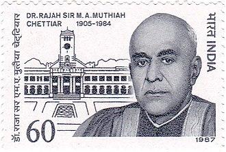 M. A. Muthiah Chettiar - M. A. Muthiah Chettiar on a 1987 stamp of India