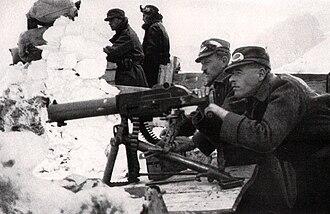 Schwarzlose machine gun - Austro-Hungarian machinegunners in the Tyrolean high mountains.