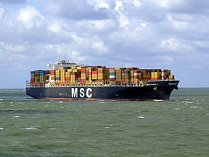 MSC Pamela p14 approaching Port of Rotterdam, Holland 29-Jul-2007.jpg
