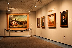 State Historical Society of Missouri - A view of the George Caleb Bingham gallery at the Society with Order No. 11 in the background.