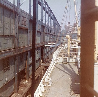 Norwegian America Line - Passenger's car being loaded onto the MS Skiensfjord in New York in 1962