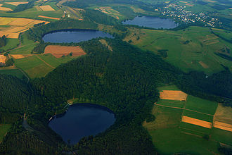 Maar - The three maars at Daun (from front to rear): the Gemündener, Weinfelder and Schalkenmehrener Maar