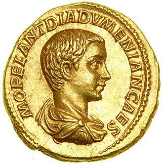 Diadumenian - An aurelius bearing the image of Diadumenian