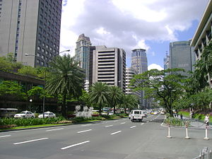 Ayala Avenue - Ayala Avenue looking north towards the Ayala Triangle