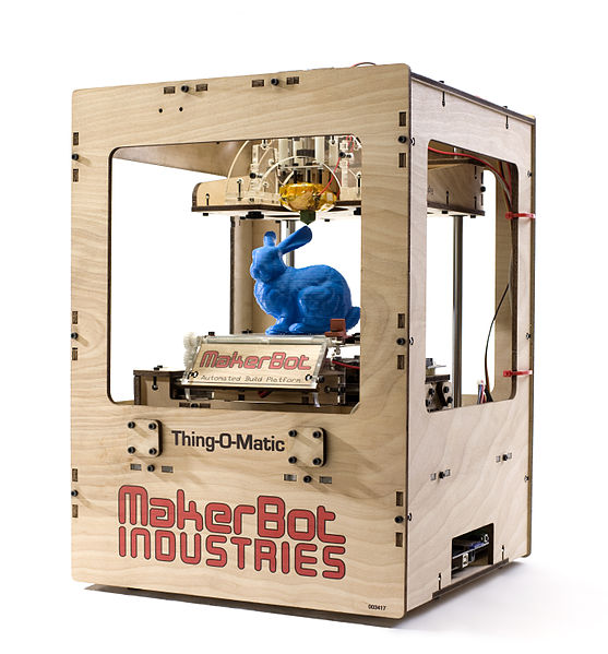 File:Makerbot Thing-O-Matic Assembled Printing Blue Rabbit.jpg