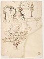 Male Figure Running (recto); Three Pen Studies of Male Heads (verso) MET DP809899.jpg