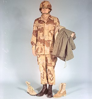 Desert Battle Dress Uniform - A man modelling the DBDU in 1976