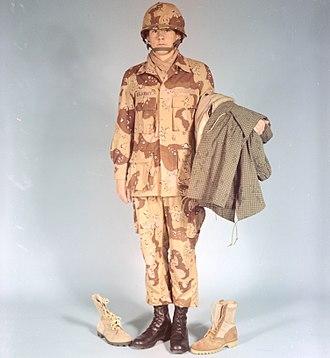 Desert Battle Dress Uniform - A man modelling the DBDU in 1976