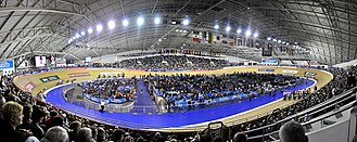 Track cycling - The Manchester Velodrome, a banked Siberian Pine-surfaced track, which has hosted the UCI World Championships on three occasions and home to British Cycling.