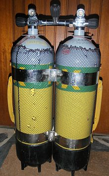 Two 12-litre steel cylinders connected by an isolation manifold and two stainless steel tank bands, with black plastic tank boots