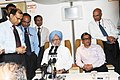 Manmohan Singh addressing the accompanying media onboard on his way back to Delhi after the Bangladesh visit. The Union Minister for External Affairs, Shri S.M. Krishna and the National Security Advisor.jpg