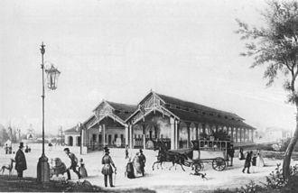 Baden main line - The original Mannheim station, about 1840