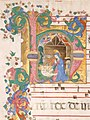 Manuscript Leaf with the Nativity in an Initial H, from an Antiphonary MET sf96-32-5d1.jpg