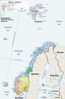 administrative regions that form the primary first-level subdivisions of Norway