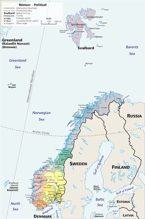 "Counties of Norway - A geopolitical map of Norway, exhibiting its 19 first-order subnational divisions (fylker or ""counties""), along with Svalbard and Jan Mayen"