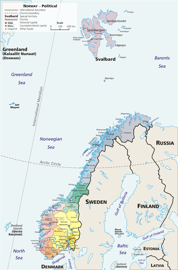 An administrative map of Norway, showing the 19 fylker, the Svalbard (Spitsbergen) and Jan Mayen islands, which are part of the Norwegian kingdom Map Norway political-geo.png