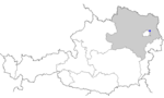 Map of Austria, position of Aderklaa highlighted