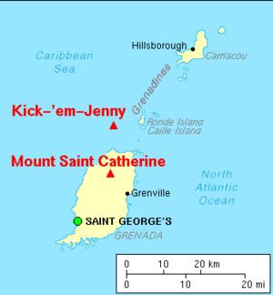 Kick 'em Jenny - Image: Map grenada volcanoes