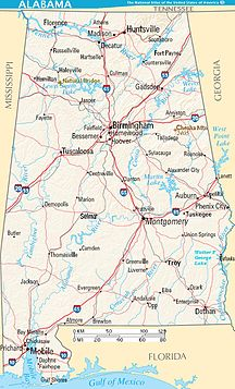 Alabama-Địa lý-Map of Alabama terrain NA