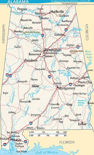 Huntsville, Alabama (top center), near the Tennessee border, is north of Birmingham and northeast of Decatur, across the Tennessee River flowing northwest.