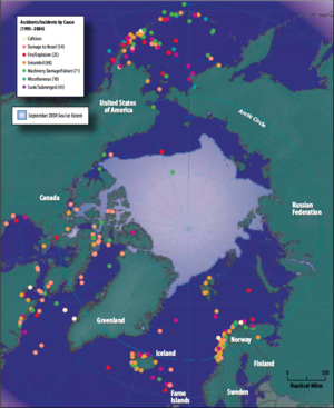 Arctic Search and Rescue Agreement - Image: Map of Arctic shipping accidents and incidents causes, 1995 2004