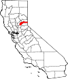 State map highlighting Nevada County