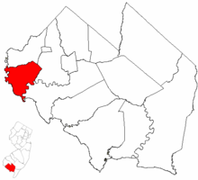 Greenwich Township highlighted in Cumberland County. Inset map: Cumberland County highlighted in the State of New Jersey.