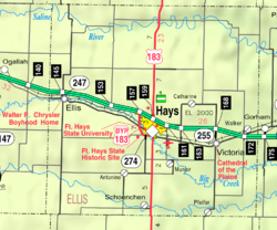 KDOT map of Ellis County (legend)