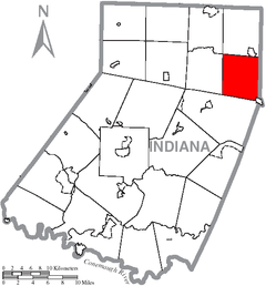 Map of Indiana County, Pennsylvania Highlighting Montgomery Township.PNG