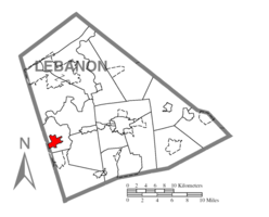 Map of Lebanon County, Pennsylvania highlighting Palmyra