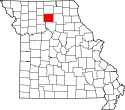map of Missouri highlighting Linn County