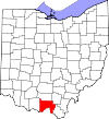 State map highlighting Scioto County