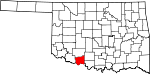 State map highlighting Cotton County