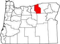 Map of Oregon highlighting Morrow County