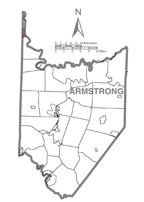 Map of Parker, Armstrong County, Pennsylvania Highlighted.png