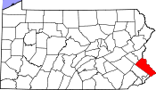 Map of Pennsylvania highlighting Bucks County.svg
