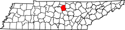 map of Tennessee highlighting Smith County