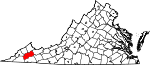 State map highlighting Russell County