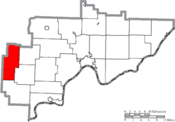 Location of Wesley Township in Washington County