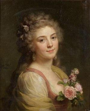 Marie Bouliard - Image: Marie Geneviève Bouliard Portrait de femme au corsage fleuri, dit aussi Portrait présumé de Mademoiselle Bélier