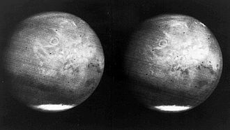 Mariner 6 and 7 - Two full disc views of Mars from Mariner 7 as it approached, 1969