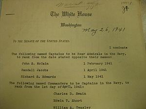 John S. McCain Sr. - McCain's Rear Admiral nomination
