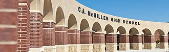 McMillen High School - A stone arcade at the front entrance of McMillen High School.