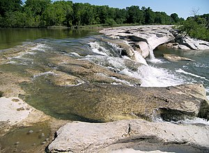 The upper falls at McKinney Falls State Park.