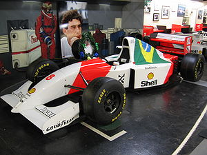 McLaren MP4/8 - Ayrton Senna's MP4/8 on display at Donington, the site of his famous wet-weather victory in 1993.