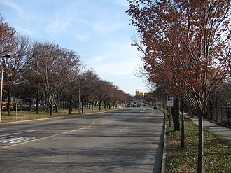Interstate 695 (Massachusetts) - Melnea Cass Boulevard in Roxbury, built along the right-of-way cleared, but never used, for I-695